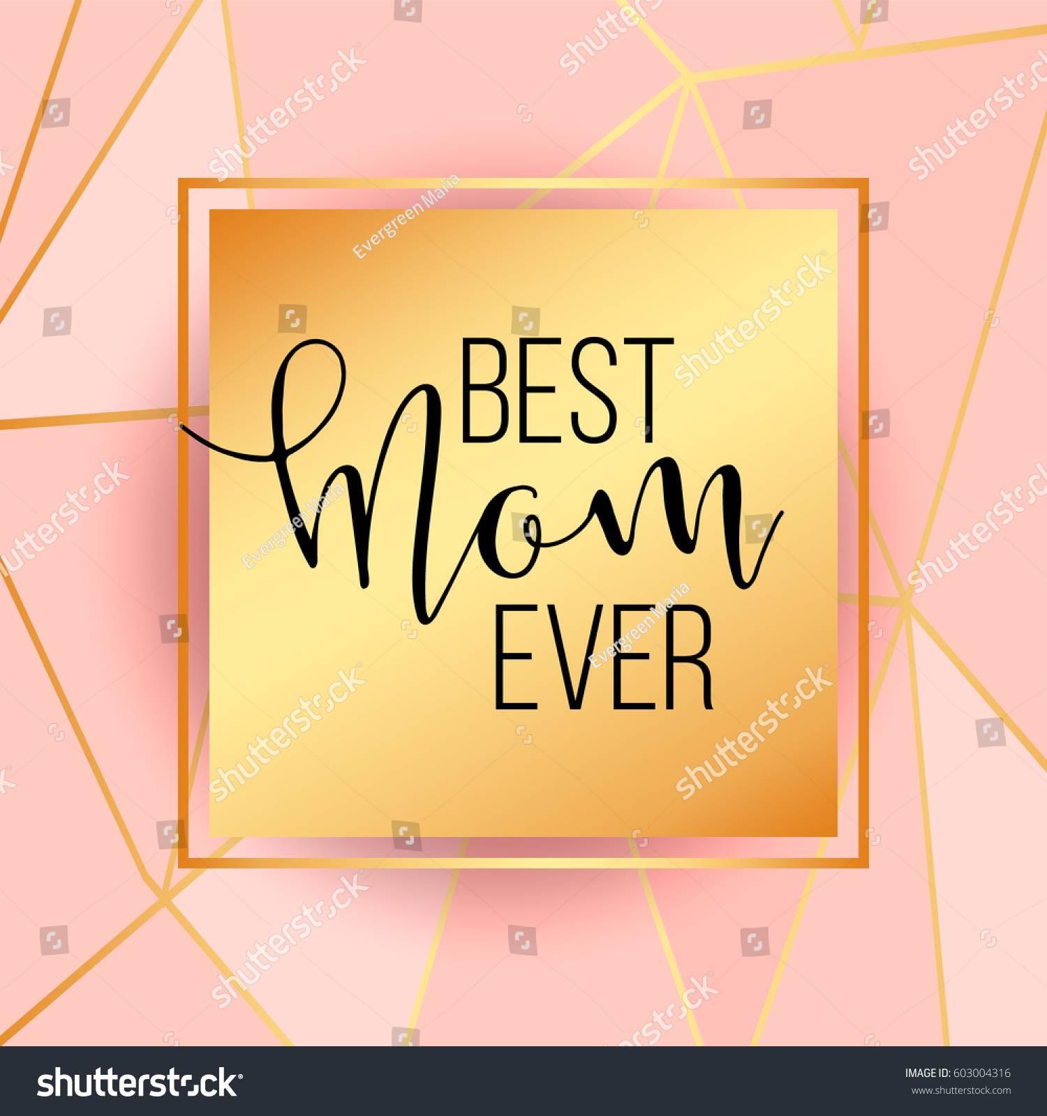 Best Mom Mum Ever Pink Background Stock Vector