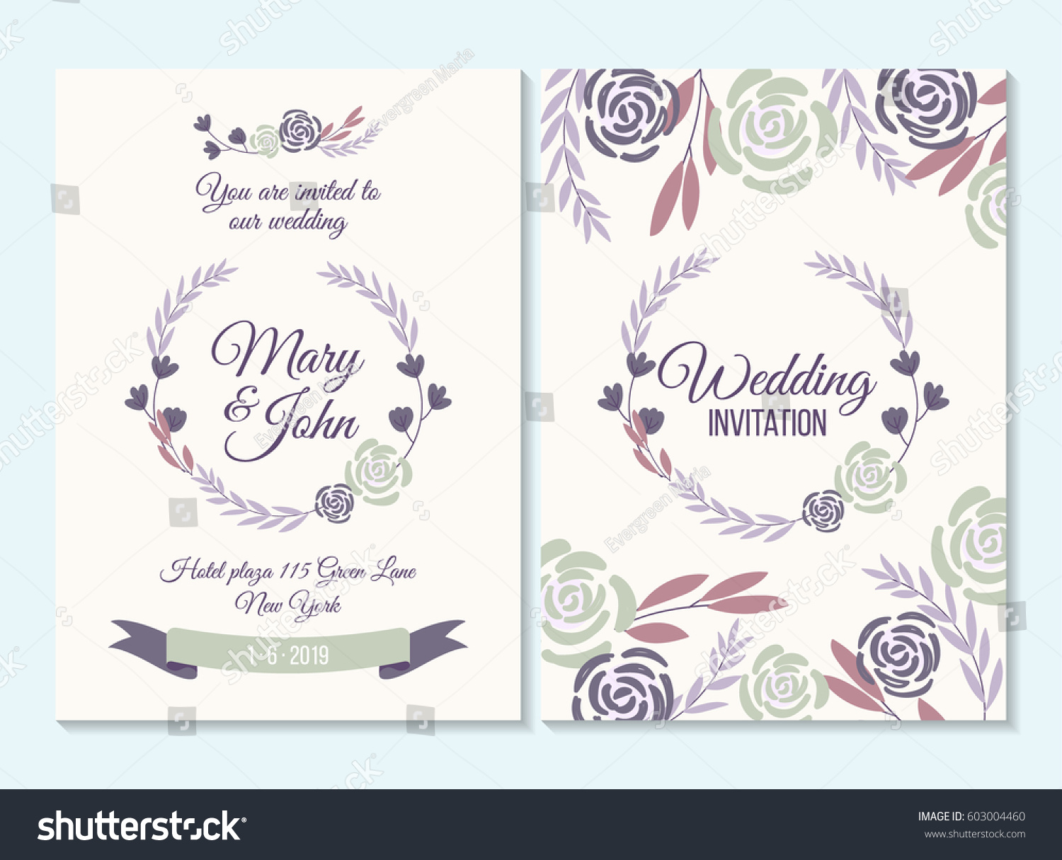 Purple Wedding Invitation Thank You Card Stock Vector (Royalty Free ...