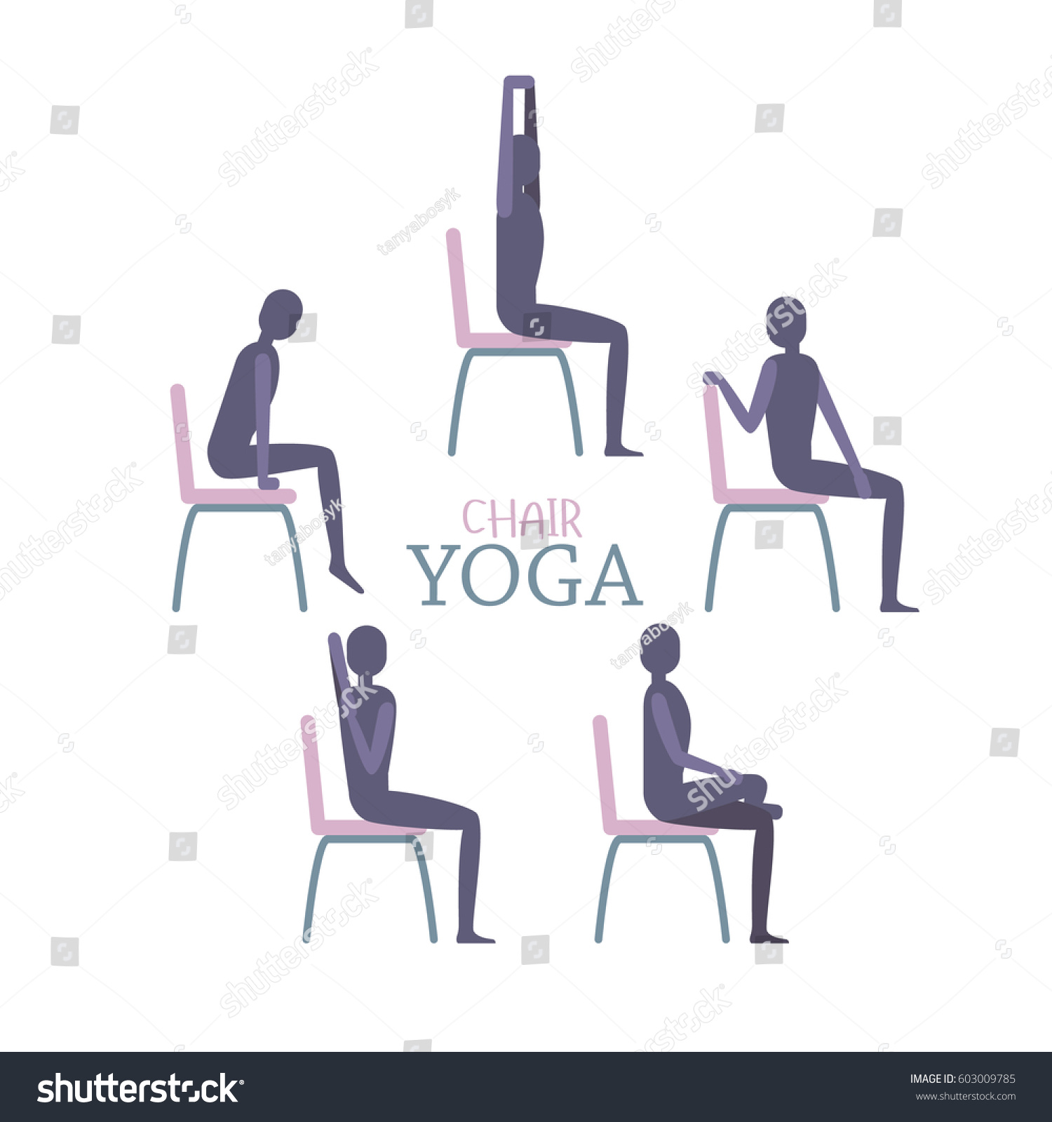Chair yoga poses - Vector Illustration Of Man Or Woman Sitting On A Chair In Yoga Poses Relaxing And