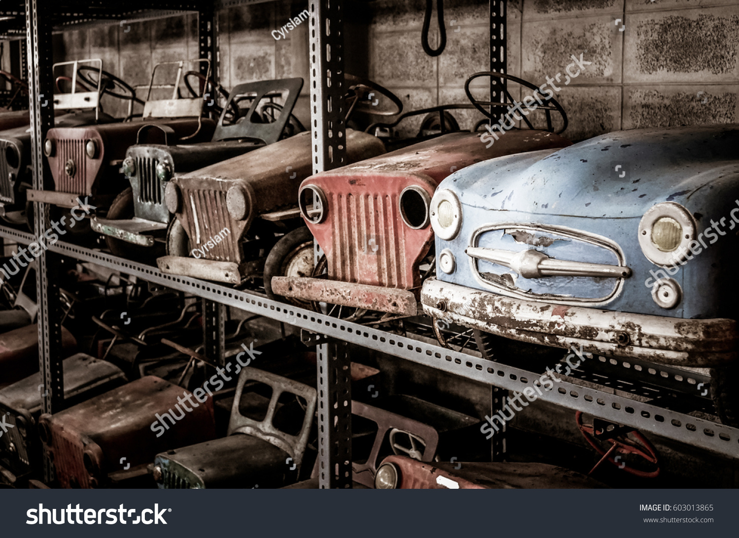 Old Pedal Cars Collection Nostalgia Time Stock Photo (Download Now ...