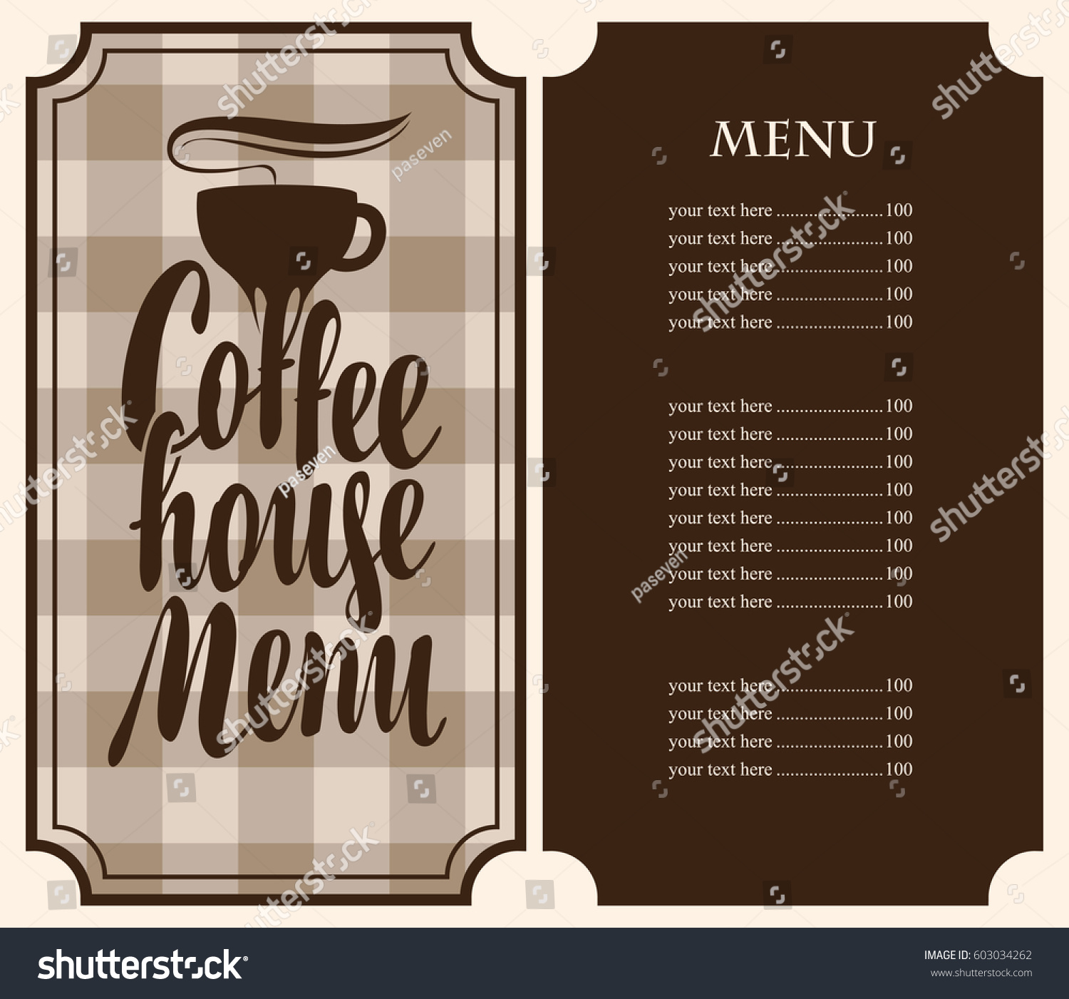 coffee price list template vector coffee house menu template price stock vector