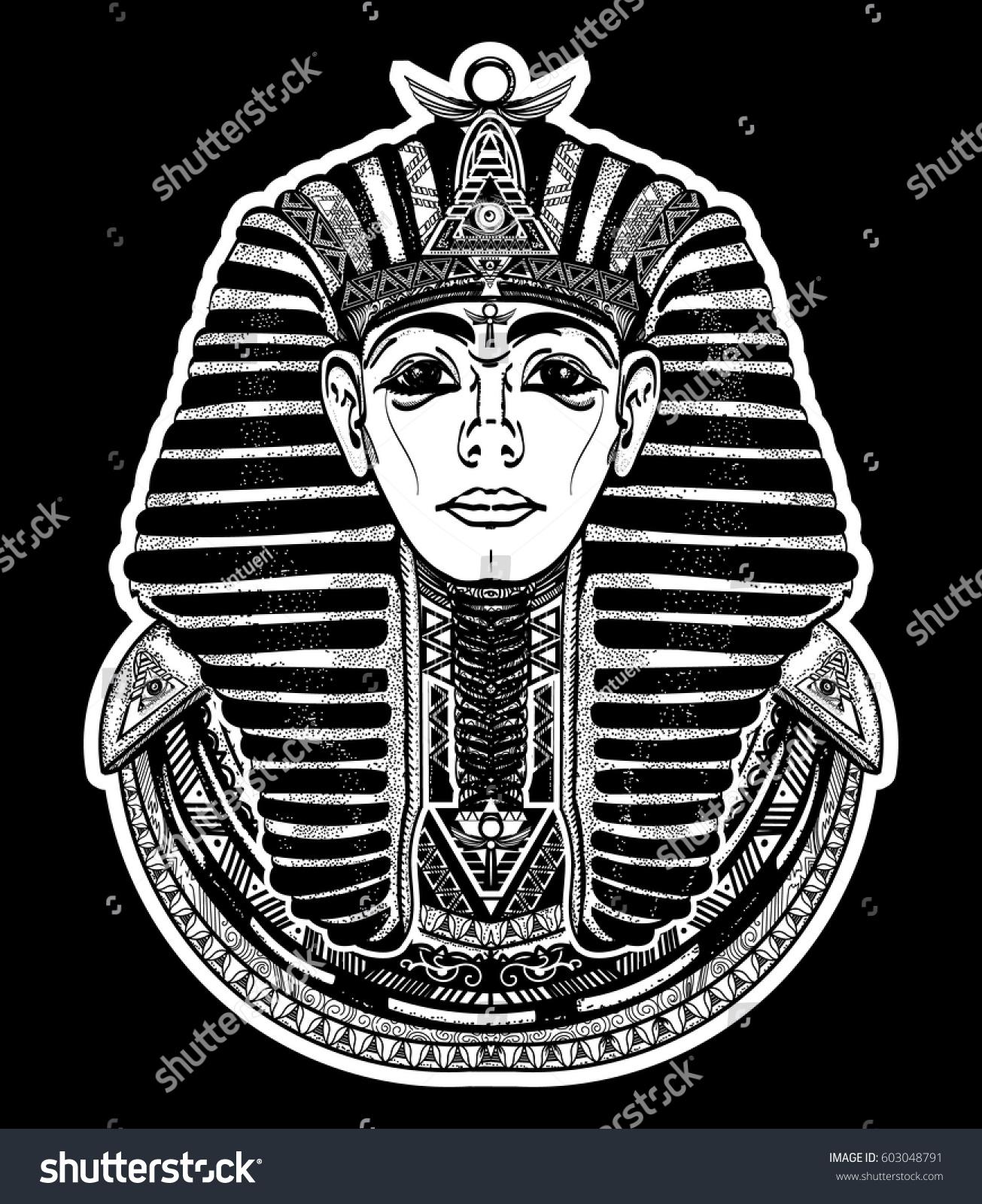 da8d3ace7 Pharaoh tattoo art graphic, t-shirt design. Great king of ancient Egypt.  Tutankhamen mask