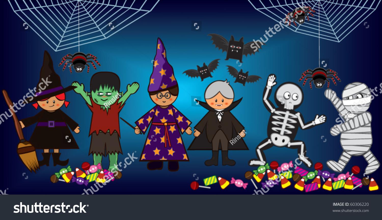Halloween Costume Party Kids Stock Vector 60306220 - Shutterstock