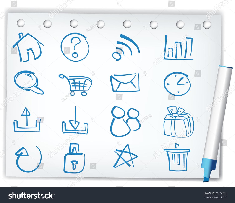 handwriting style icons stock vector illustration 60308401