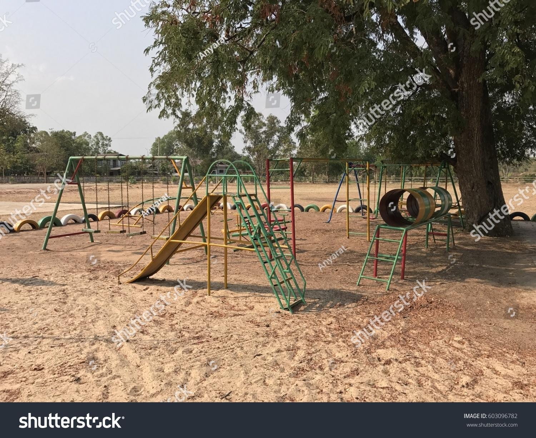 Playground Blue Sky Big Tree School Stock Photo 603096782 - Shutterstock
