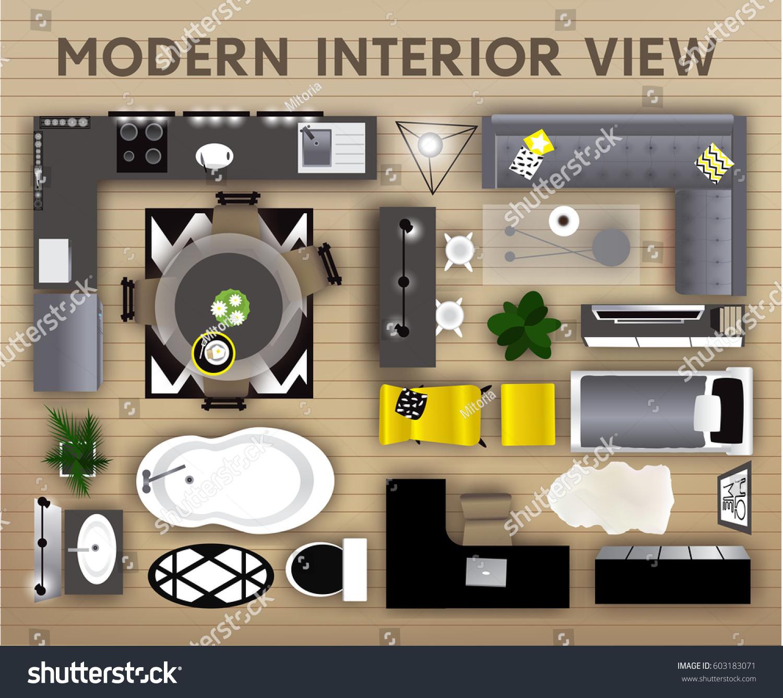 Kitchen Set Top View: Set Loft Interior Top View Elements Stock Vector 603183071