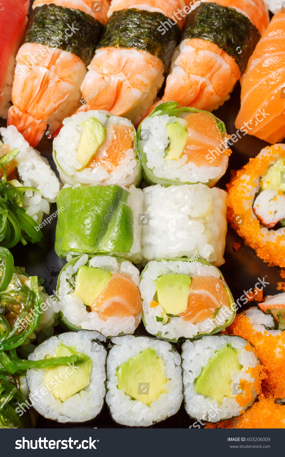 Large set sushi rolls top view stock photo 603206009 for Fish for sushi