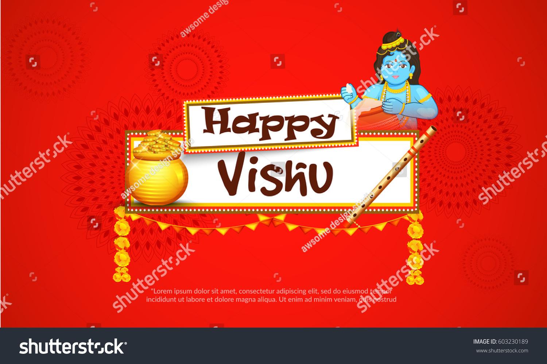 Beautiful Illustration Happy Vishu Typography Design Stock Vector