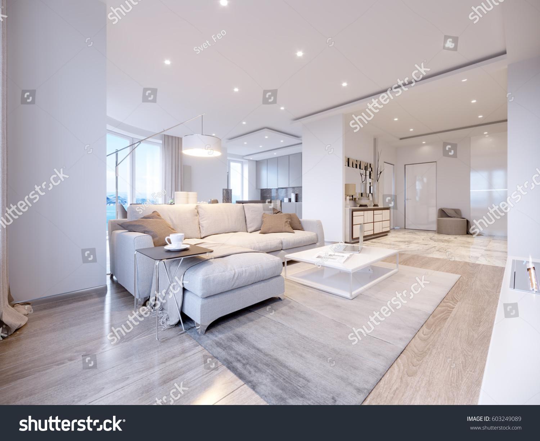 Modern White Gray Living Room Interior Stock Illustration 603249089
