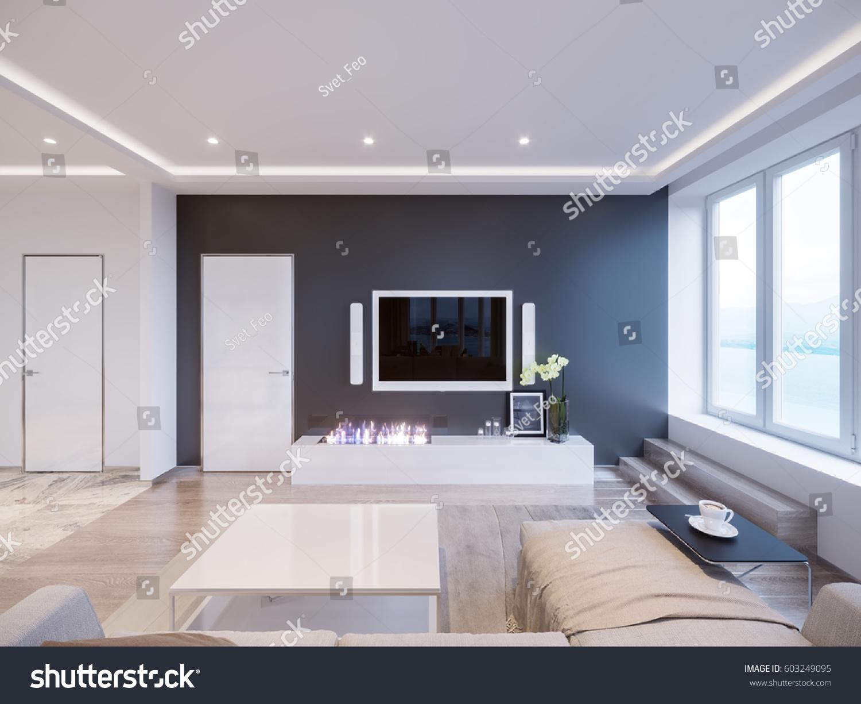 Modern White Gray Living Room Interior Stock Illustration 603249095 ...