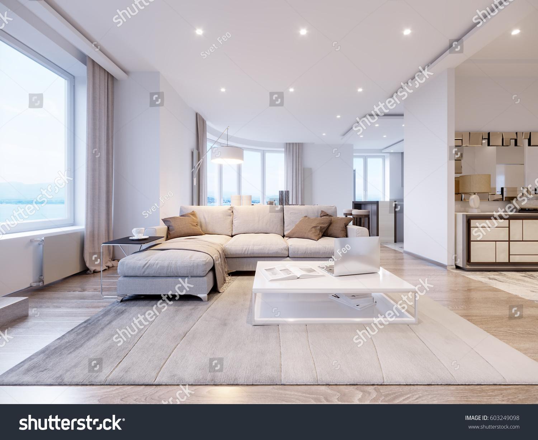 Modern White Gray Living Room Interior Stock Illustration 603249098 ...