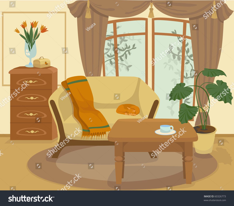 Cartoon Living Room Stock Vector 60326773 Shutterstock