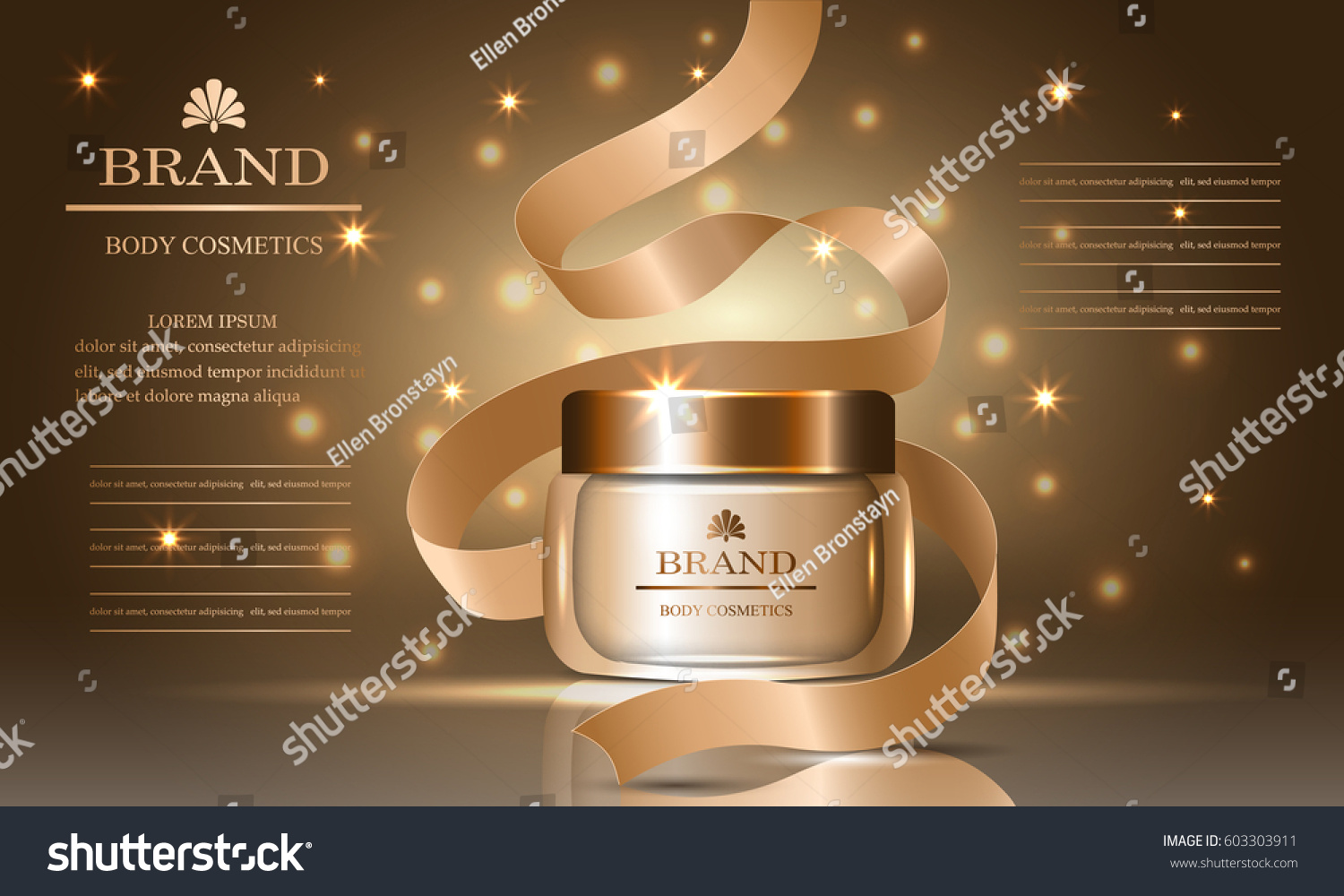 Cosmetics Beauty Body Series Ads Of Premium Collagen Oil Cream For Skin Care And Ribbon