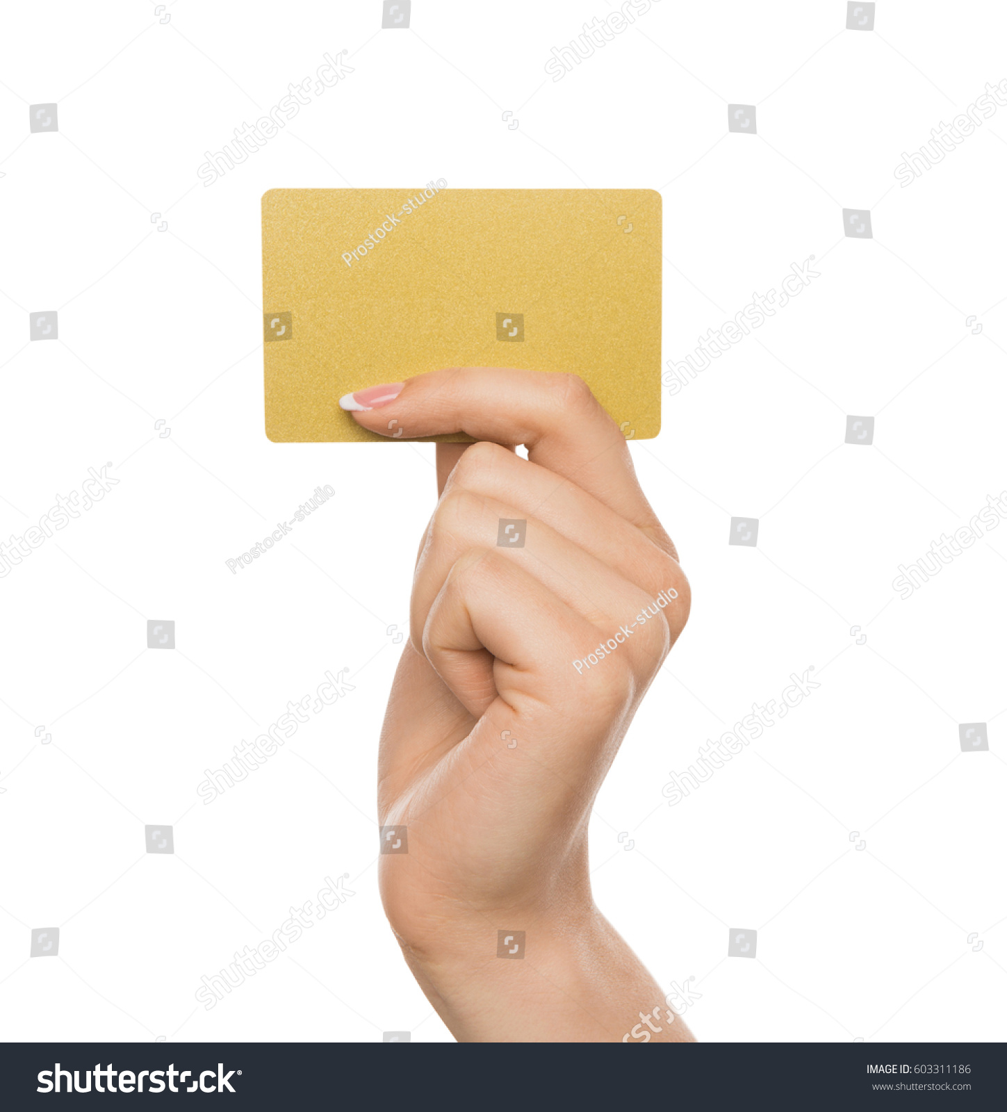 yellow card female hand french manicure stock photo