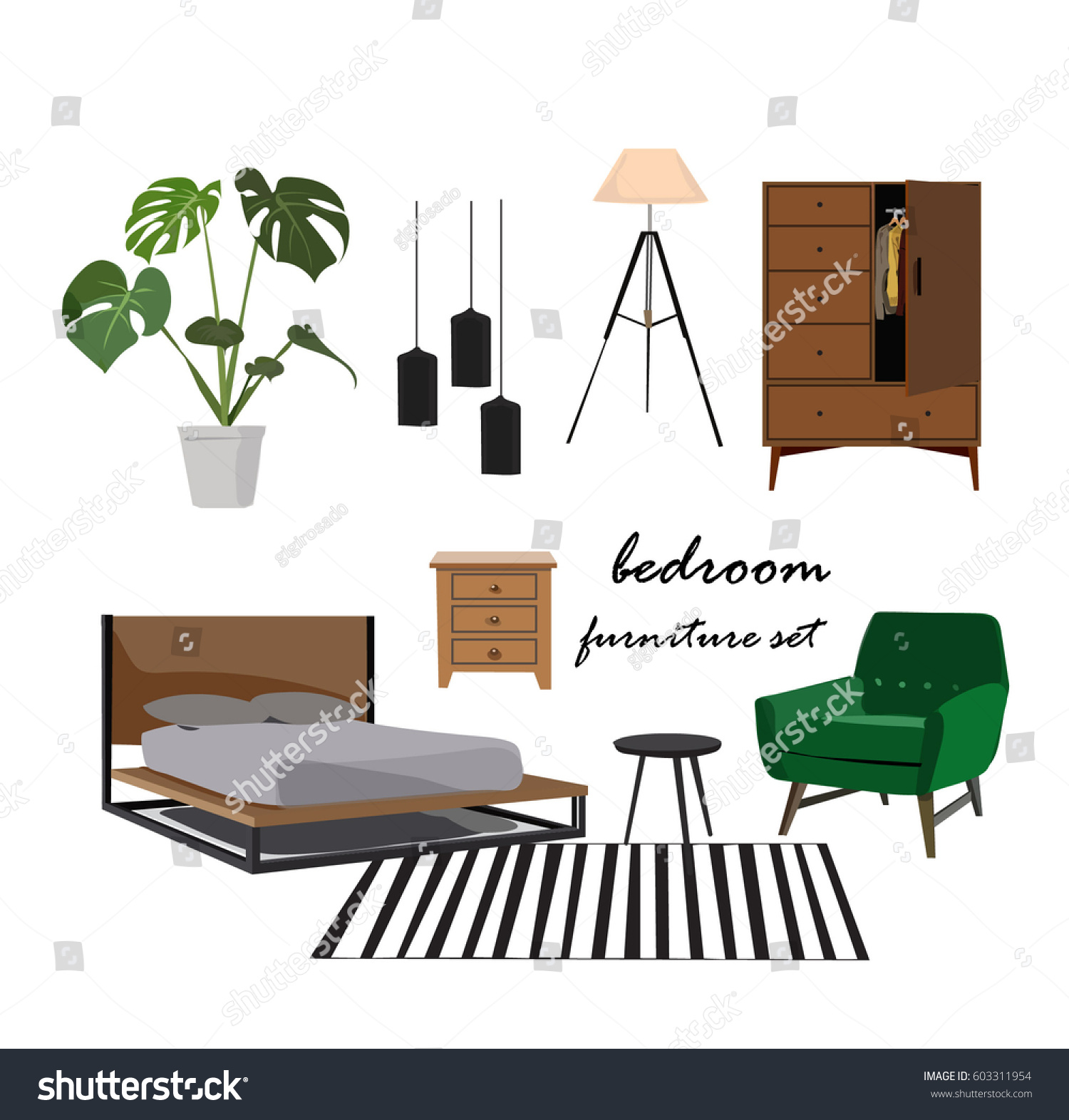 bedroom furniture set  Interior design home elements collection mood board   designer  danish. Bedroom Furniture Set Interior Design Home Stock Vector 603311954