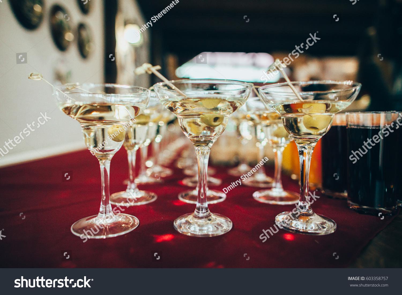 Martini Glasses Closeup Wedding Reception Alcohol Drink Table Ez