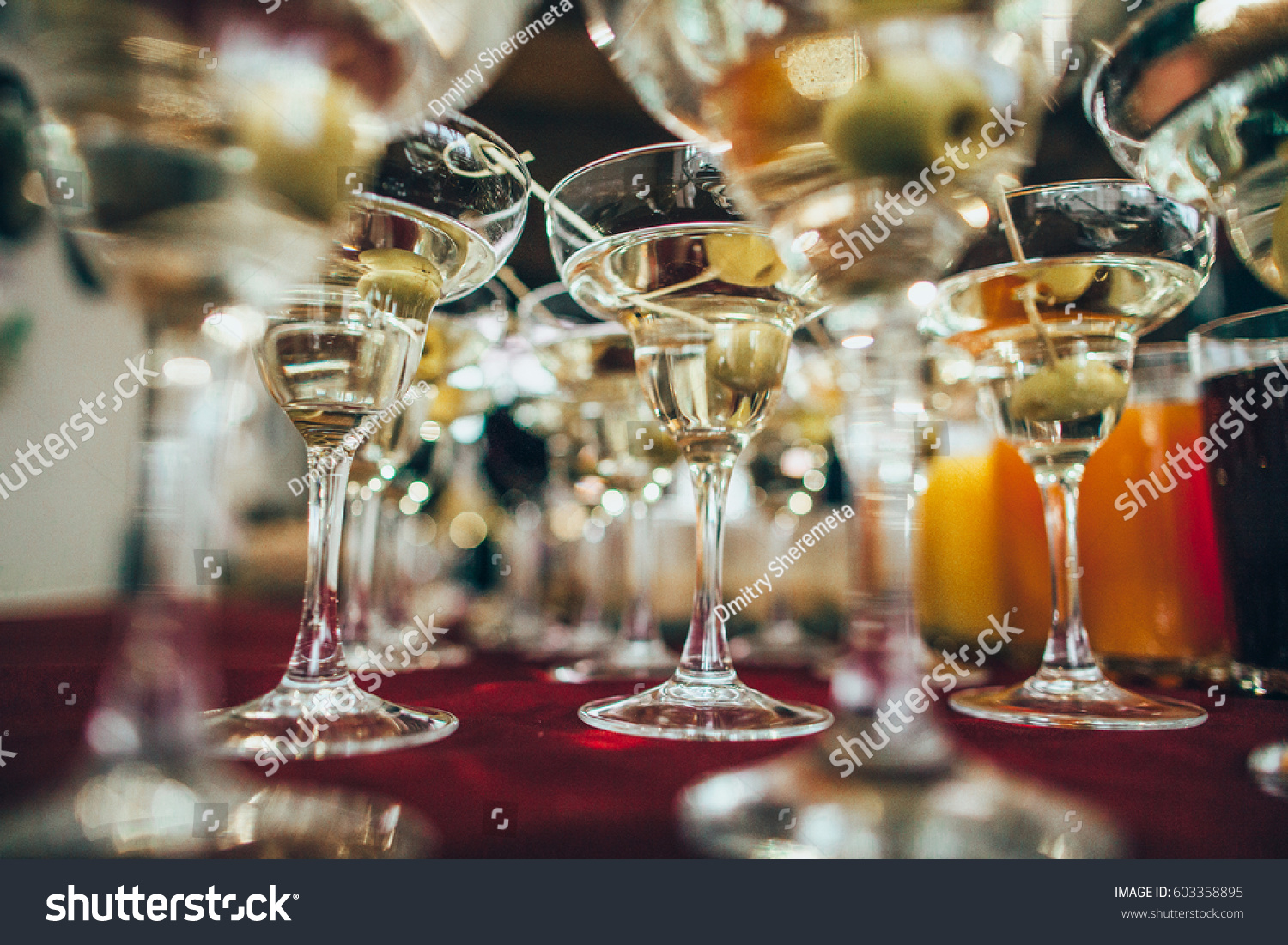 Martini Glasses Closeup Wedding Reception Alcohol Stock Photo Edit