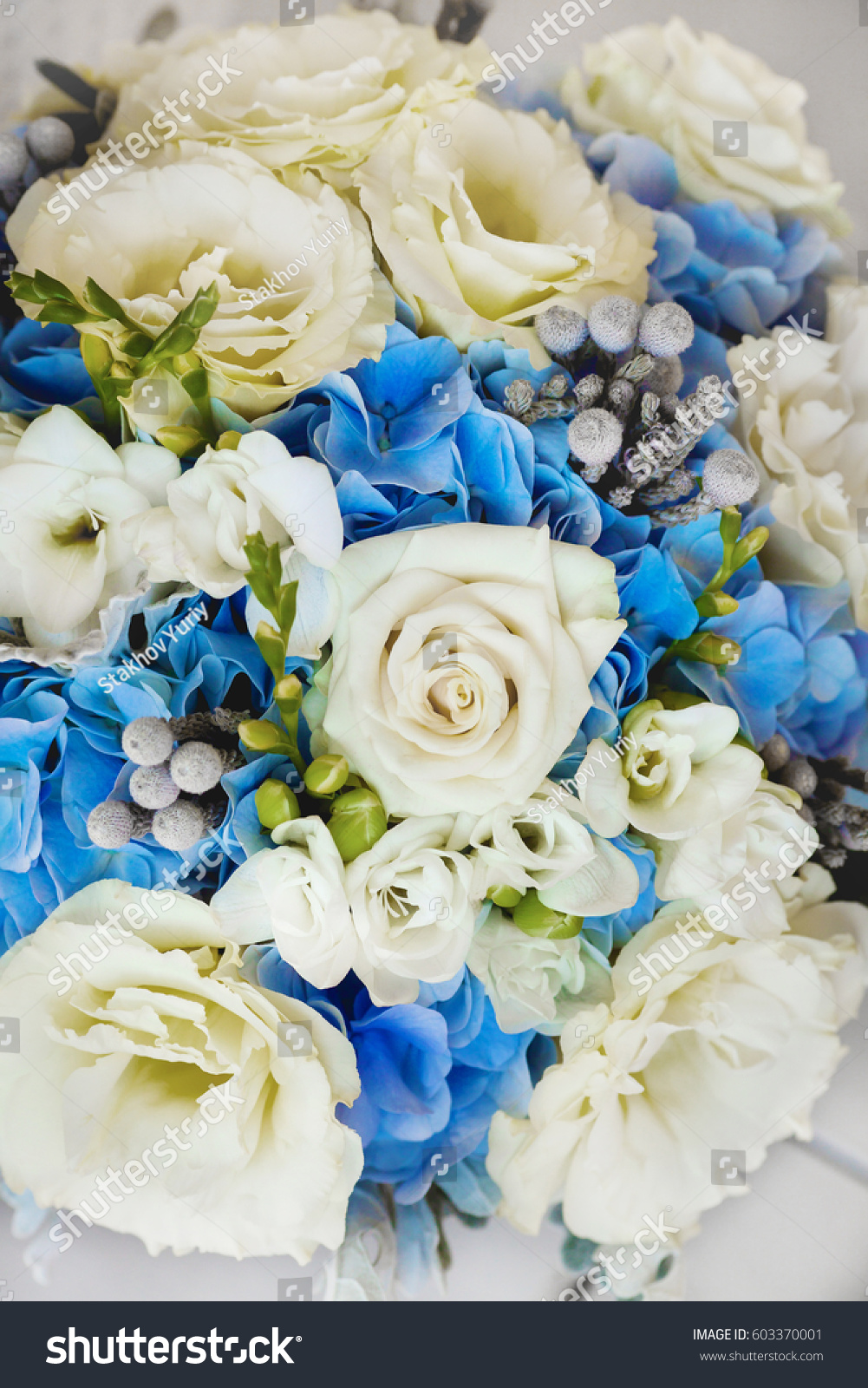 Wedding Bouquet White Blue Roses Other Stock Photo Royalty Free
