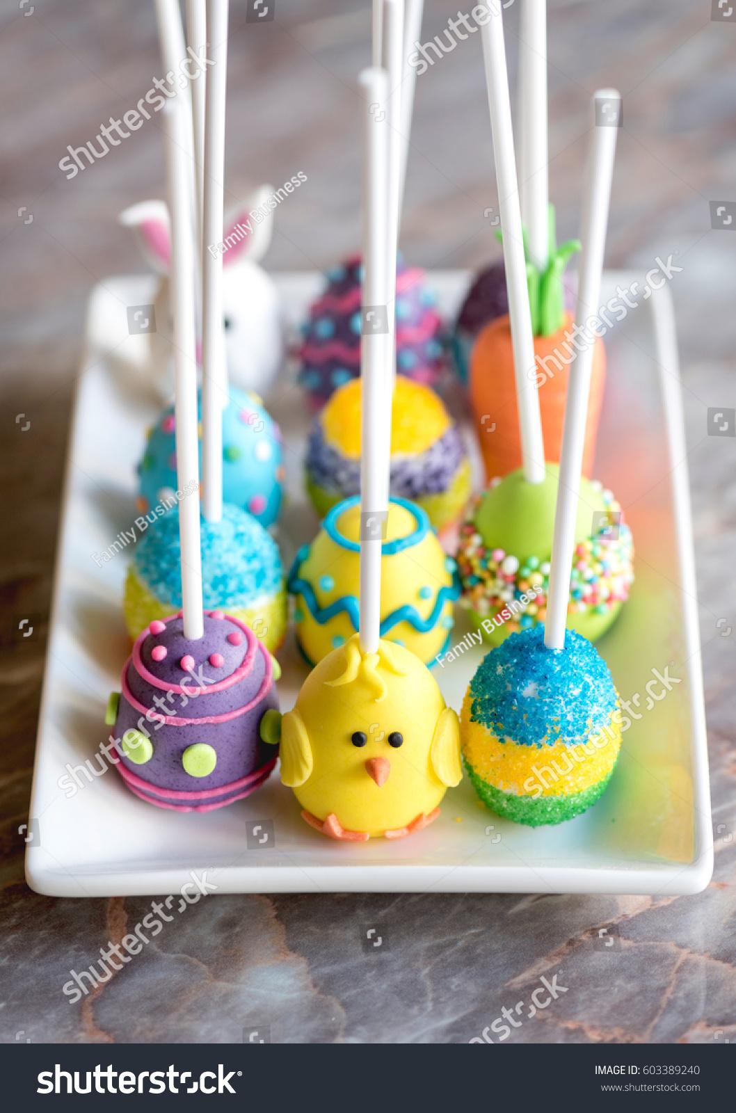Homemade Easter Decoration Cake Popsselective Focus Stock