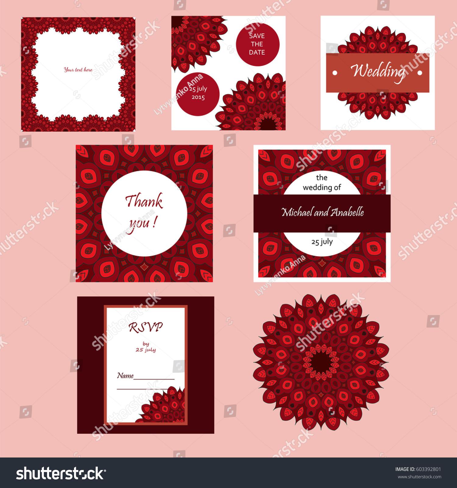 Wedding Invitation Card Suite Mandala Stock Illustration 603392801 ...