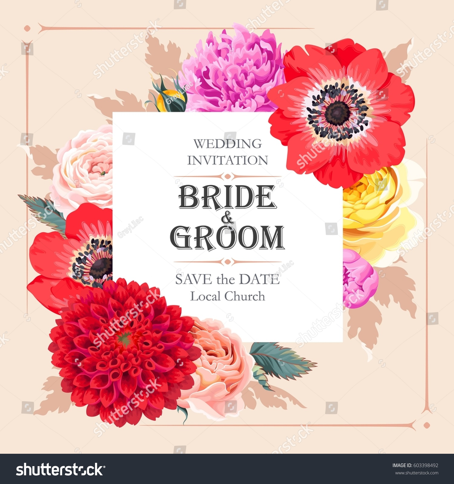 Vector Wedding Invitation High Detailed Flowers Stock Vector HD ...