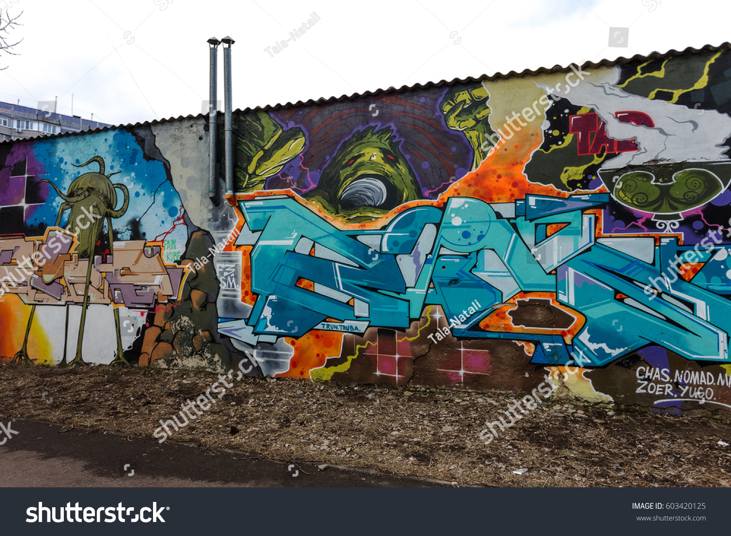 Art under ground beautiful street art graffiti style the wall is decorated with abstract