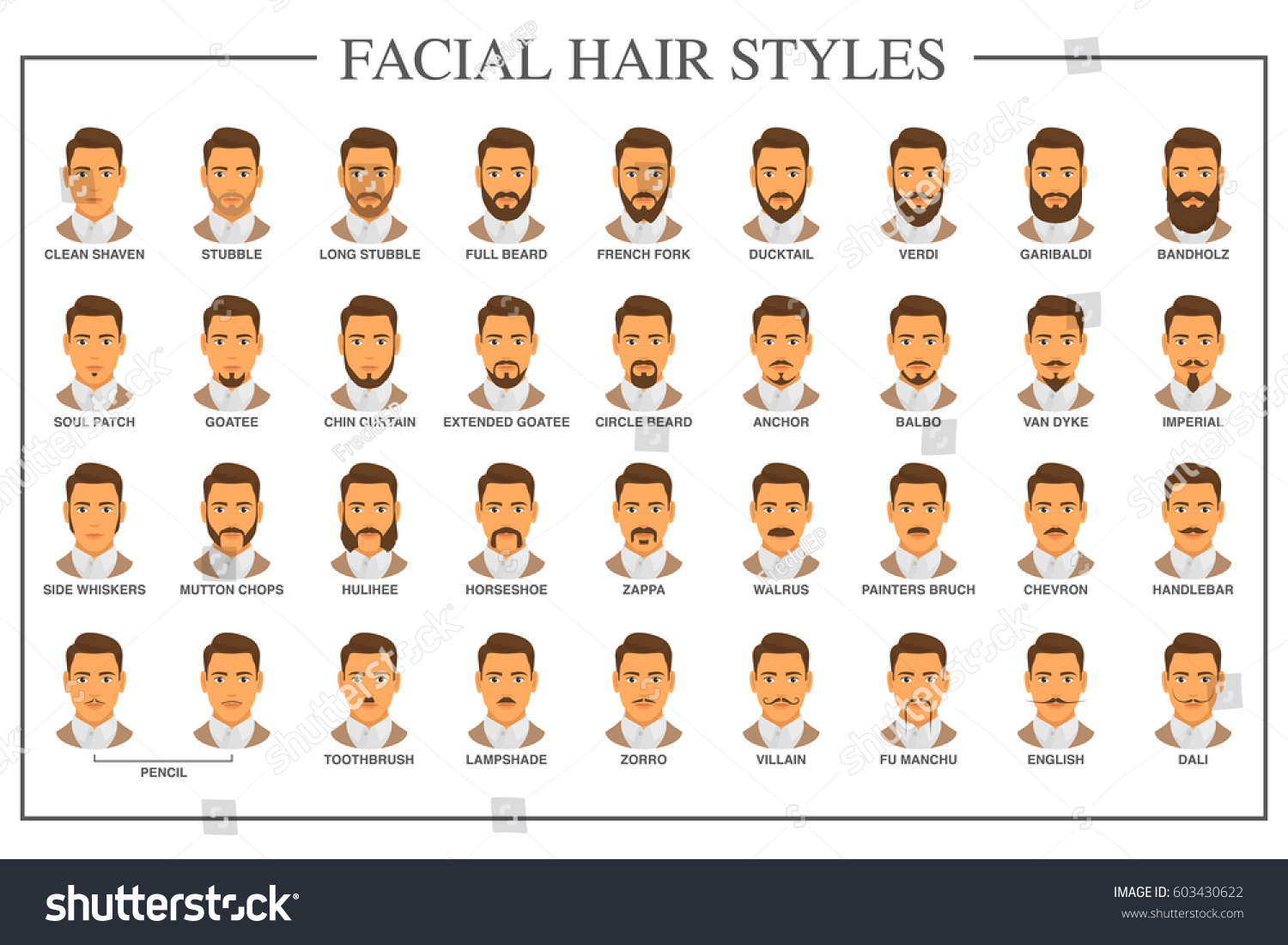Beard Style Guide Facial Hair Types Stock Photo (Photo, Vector ...