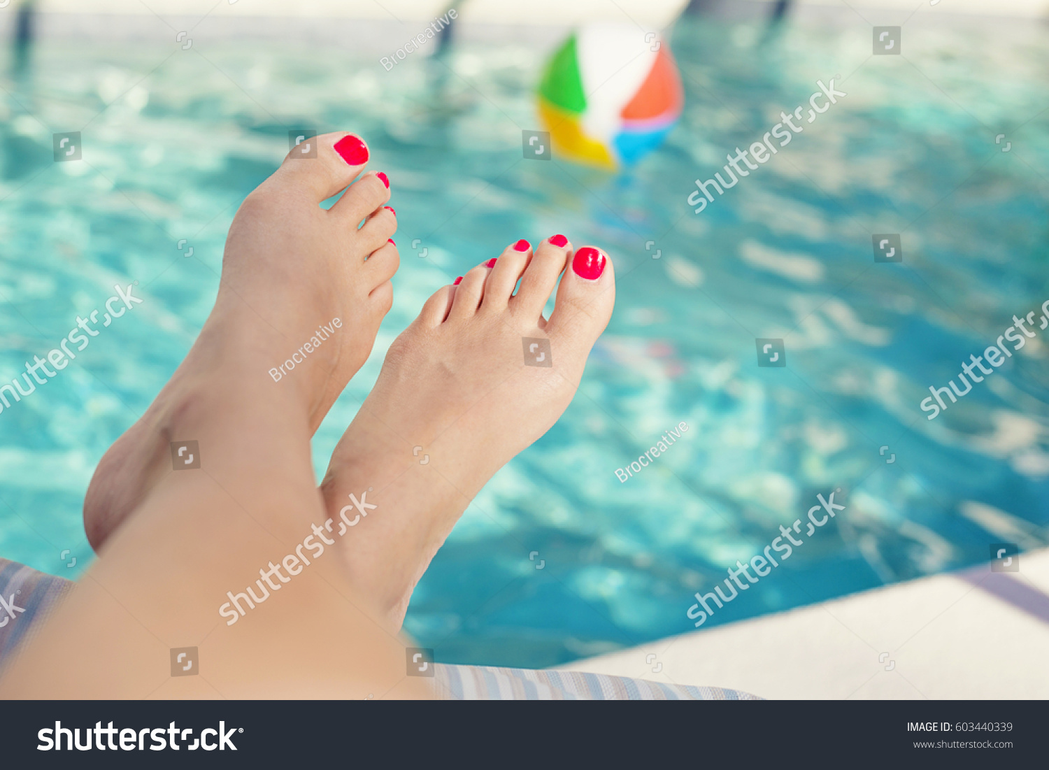 Beautiful Sexy Female Feet Relaxing By The Swimming Pool Great Pedicure Photo
