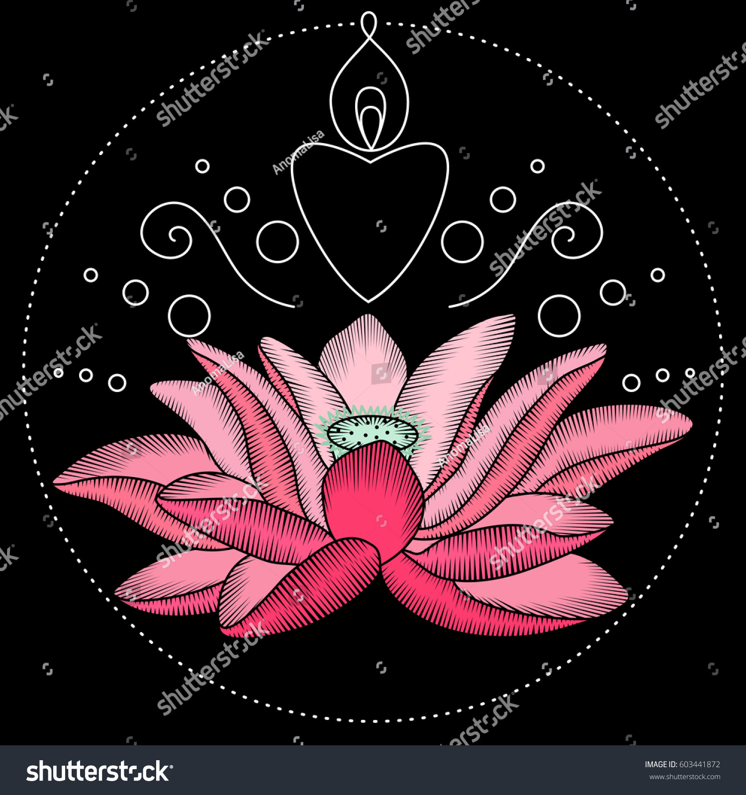 Embroidery Lotus Flower Artwork Clothing Patches Stock Vector