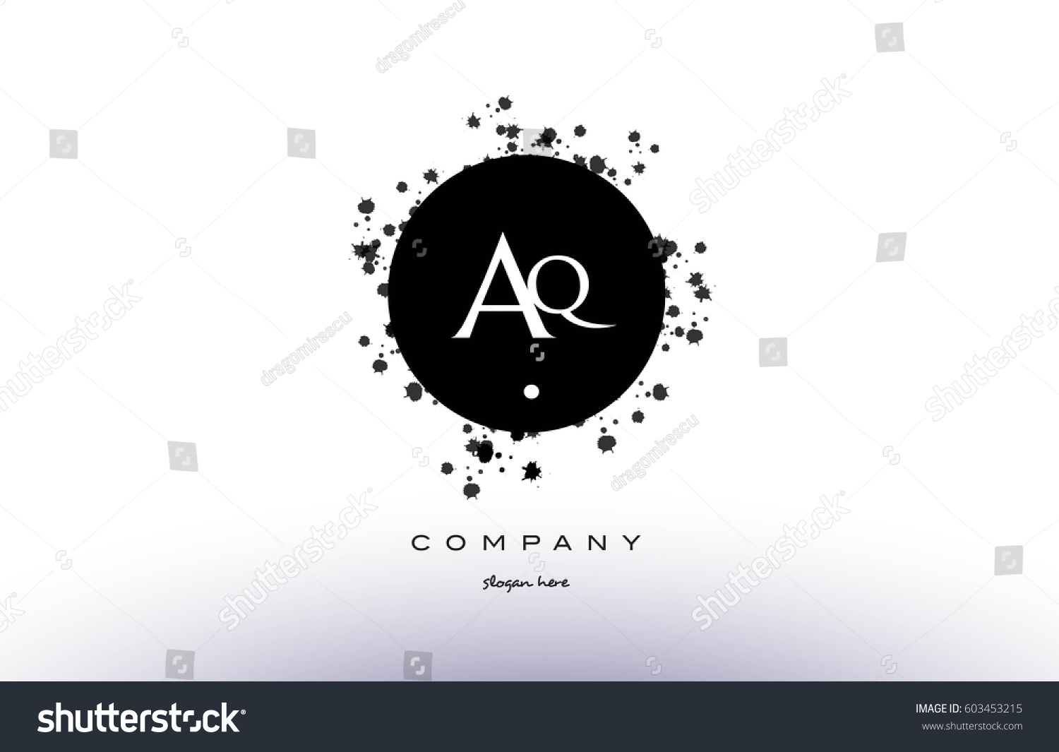 aq a q black white circle grunge splash vintage retro alphabet company logo  design vector icon template