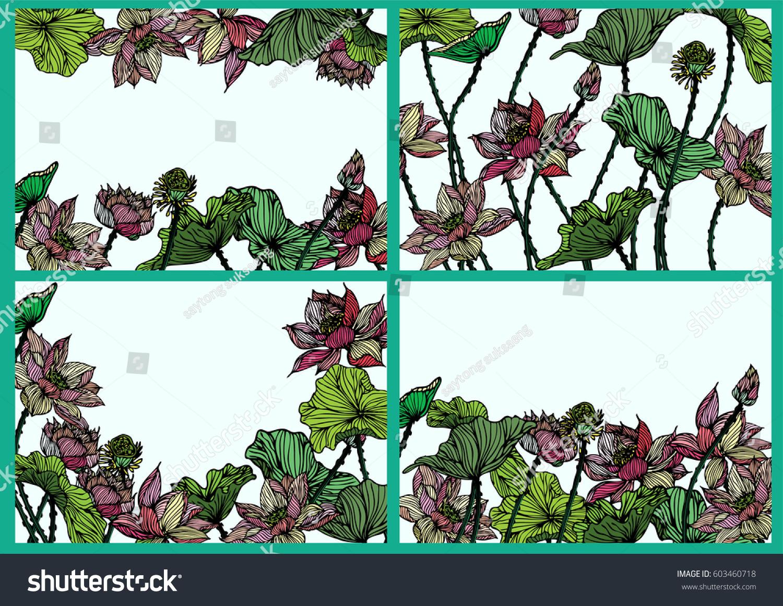 Set Lotus Vector Pattern Background Textabstract Stock Vector Shu
