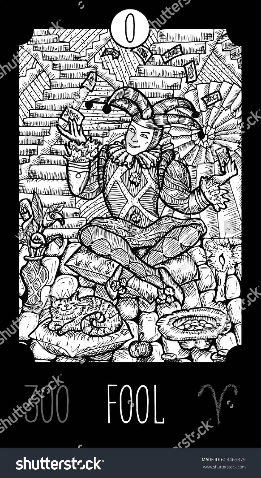 0 Major Arcana Tarot Card Fantasy Engraved Line Art Illustration Vector