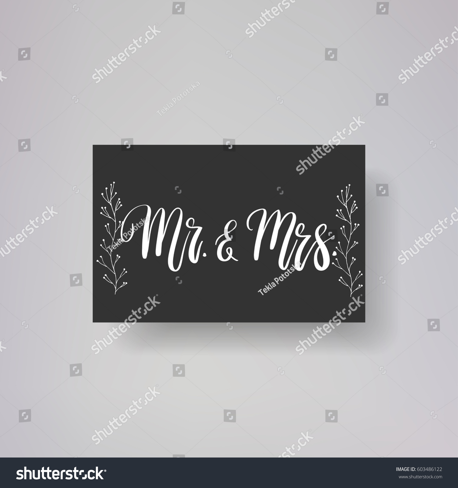 Wedding typography templates mr mrs vector stock
