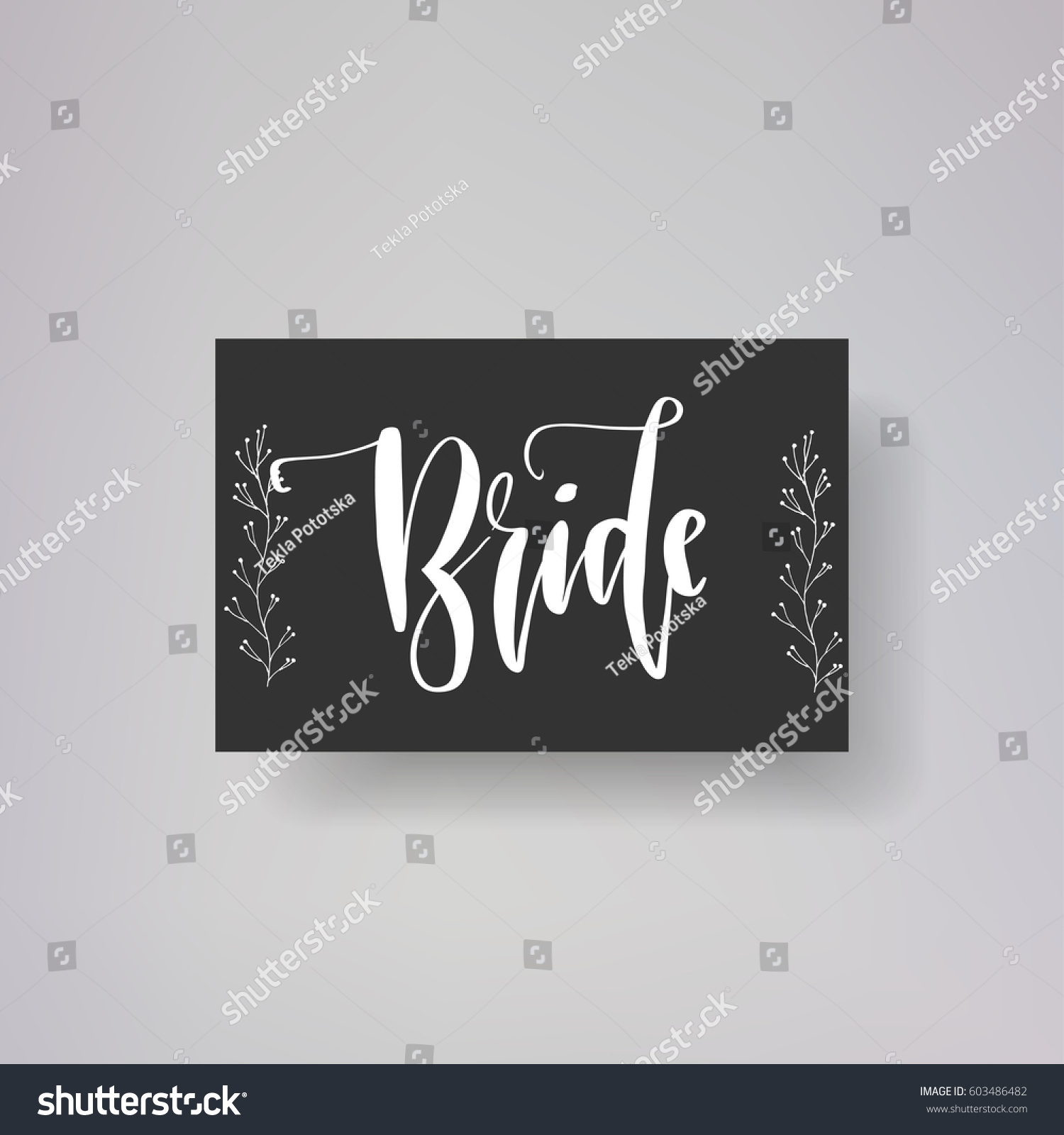 Wedding typography templates bride vector hand stock