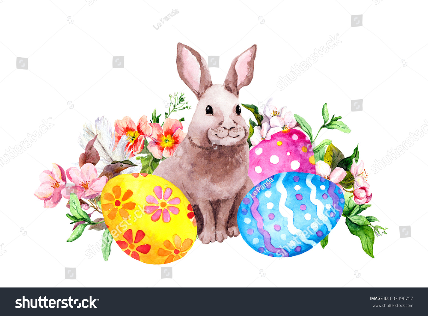 easter bunny colored eggs grass pink stock illustration 603496757