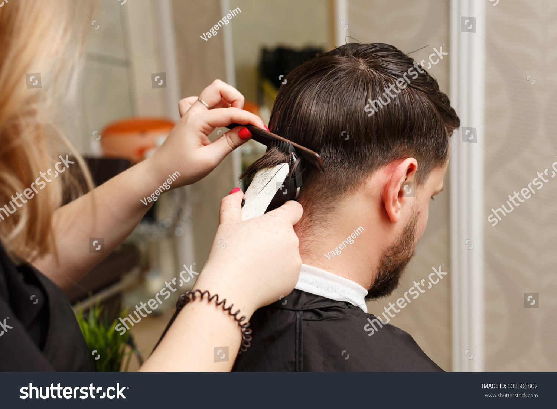 Professional Hairdresser Doing Haircut Mens Hair Stock Photo Edit