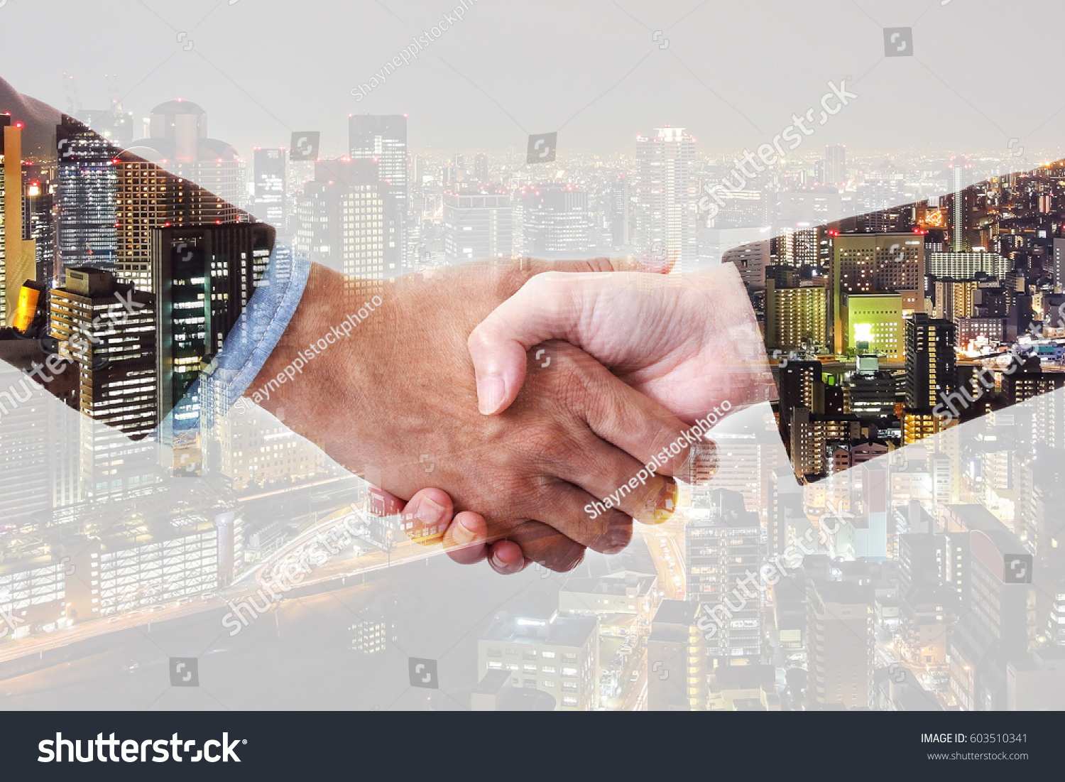 Double exposure businessman and businesswoman making hand shake with ...