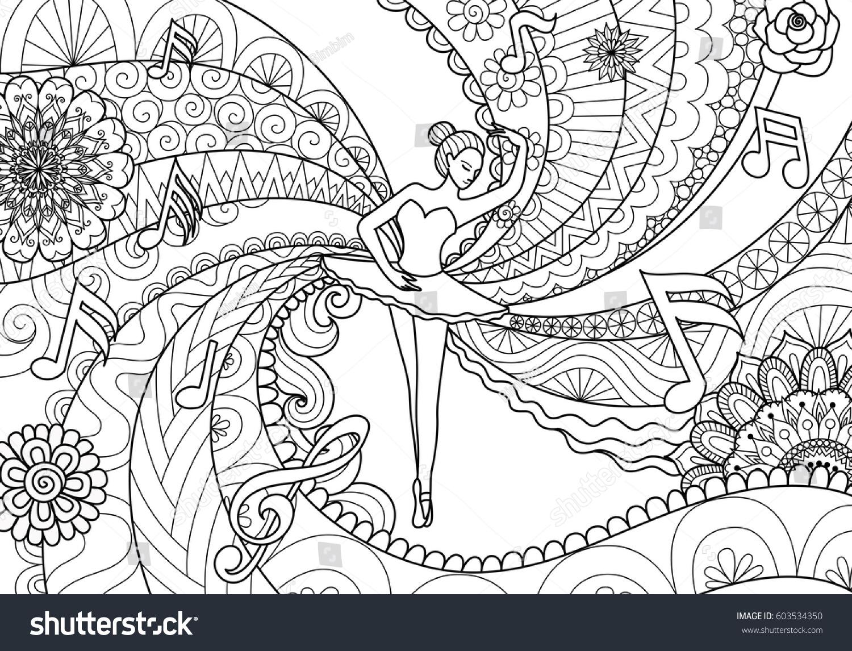 Zendoodle design ballet dancer adult coloring stock vector for Zendoodle coloring pages