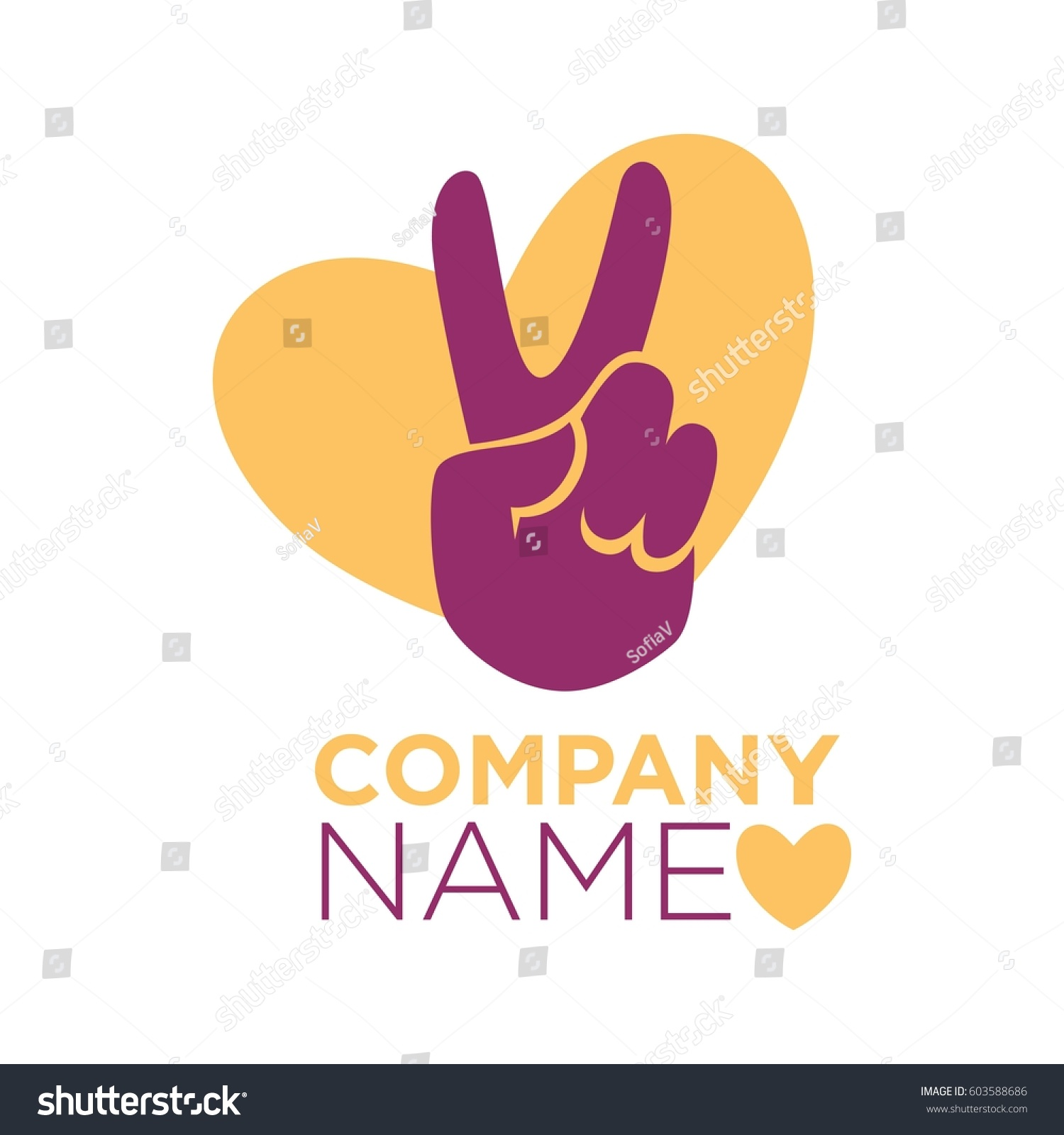 Hand finger peace gesture heart vector stock vector 603588686 hand or finger peace gesture and heart vector logo template for company vector symbol for biocorpaavc