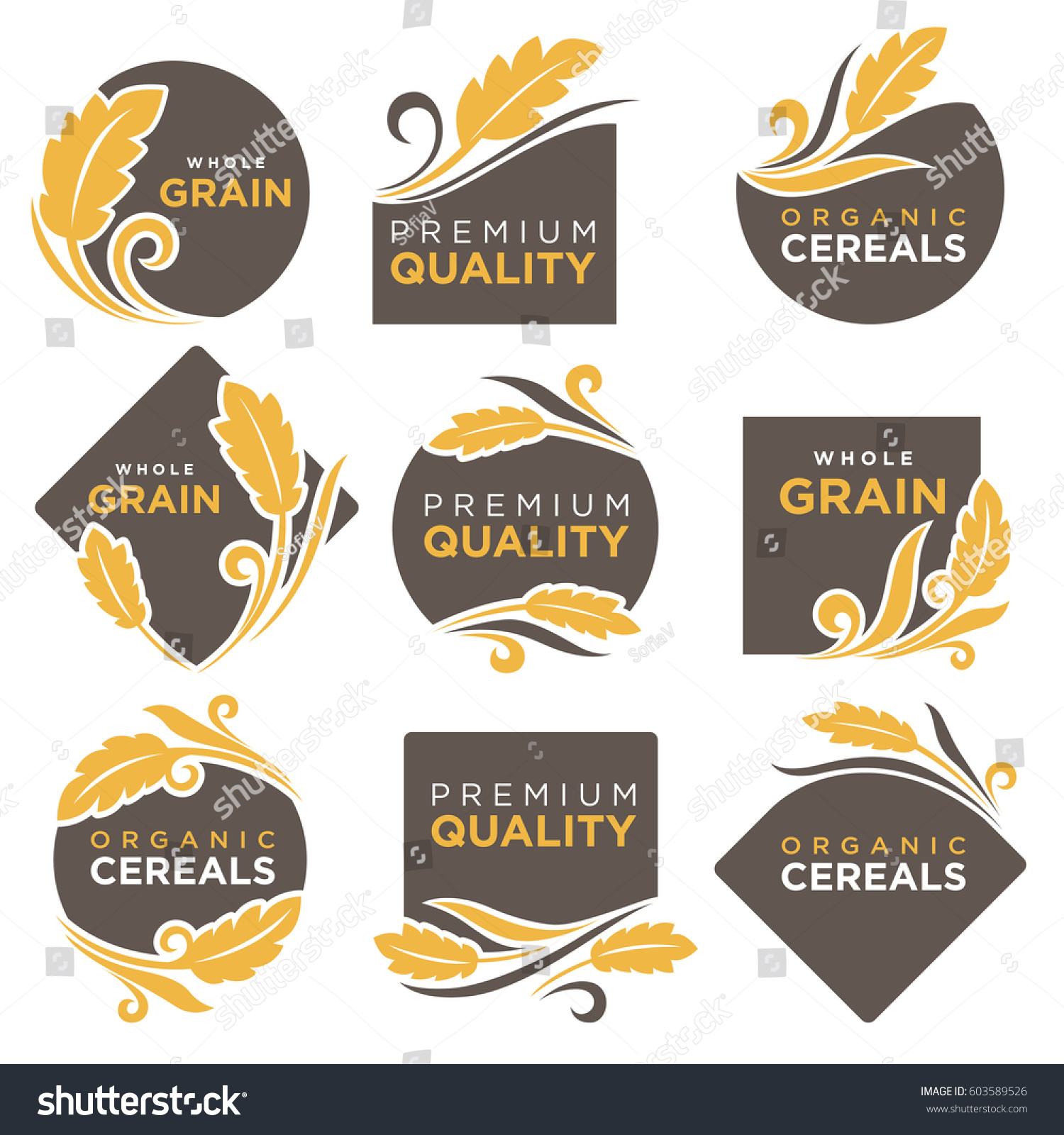 Cereal Products Vector Logo Templates Set Stock Vector Hd Royalty