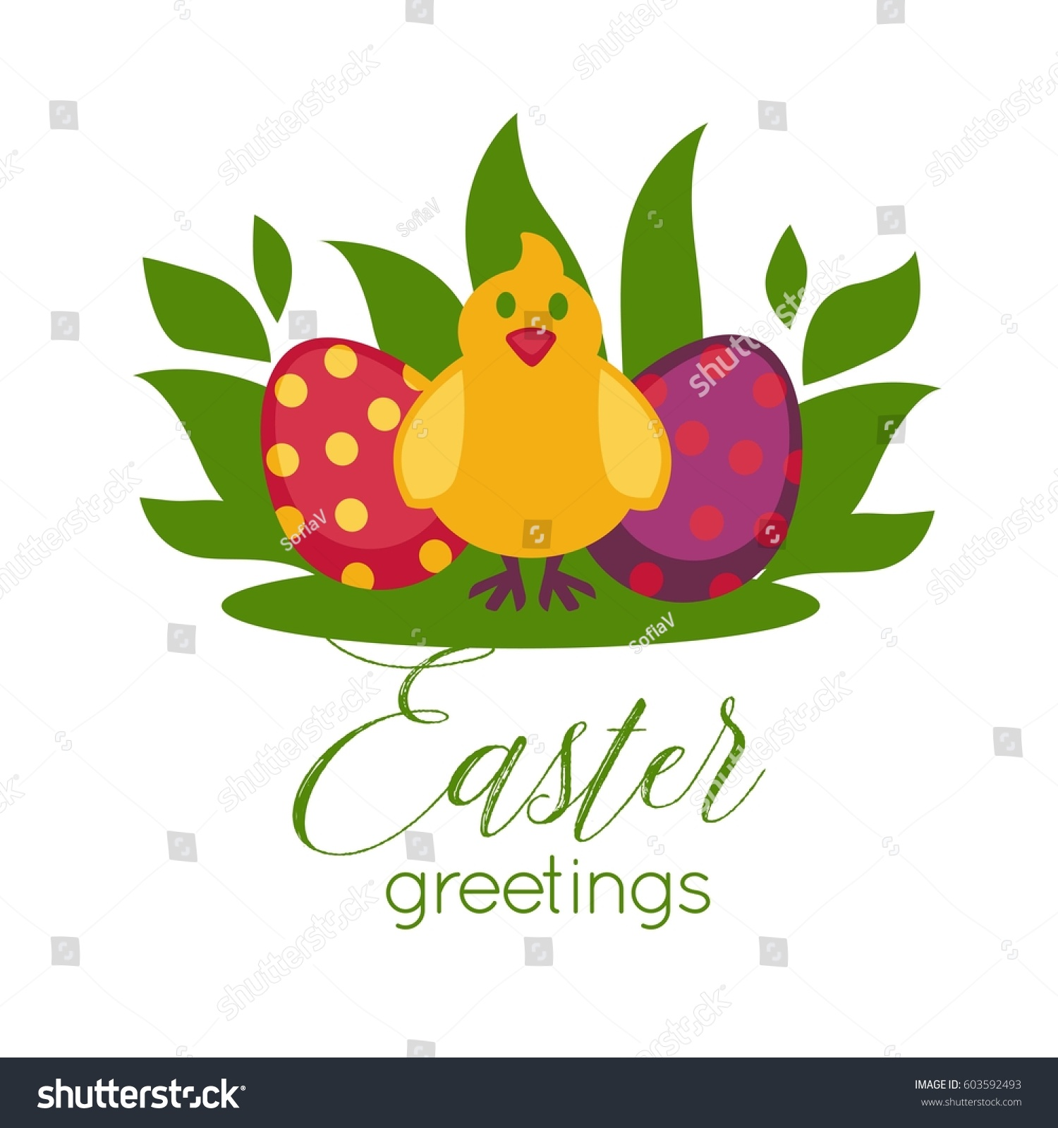 Easter Greeting Card Template Design Text Stock Vector 603592493