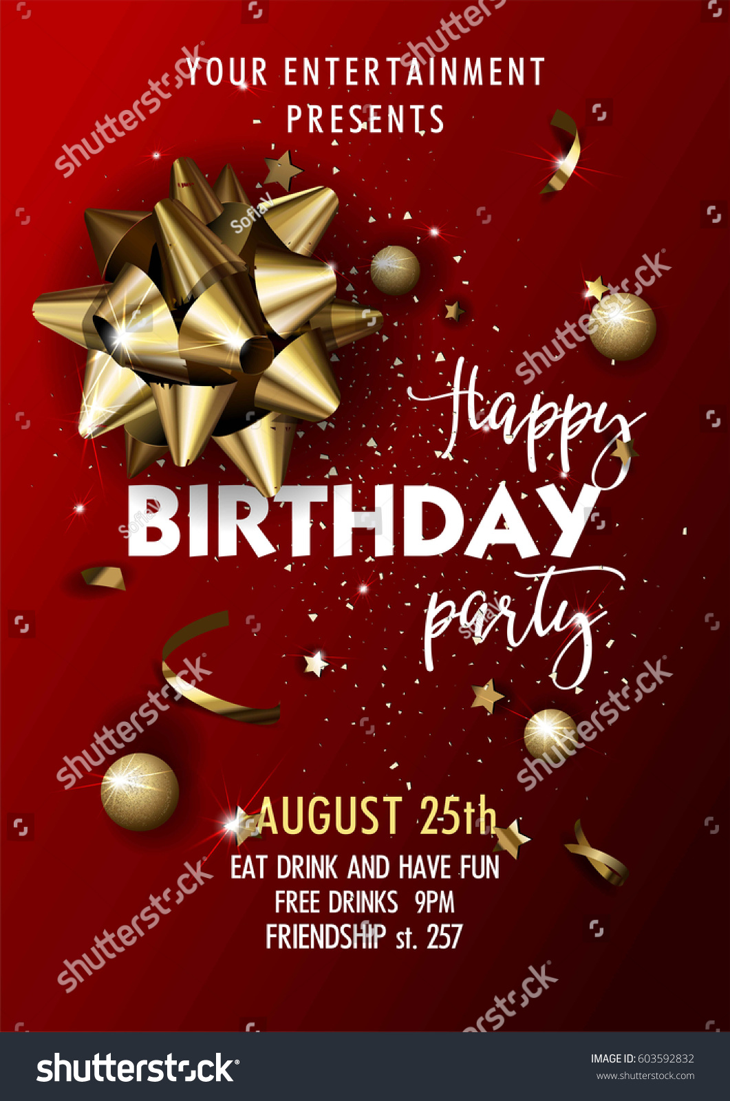 Happy Birthday Party Invitation Vector Poster Stock Vector (Royalty ...
