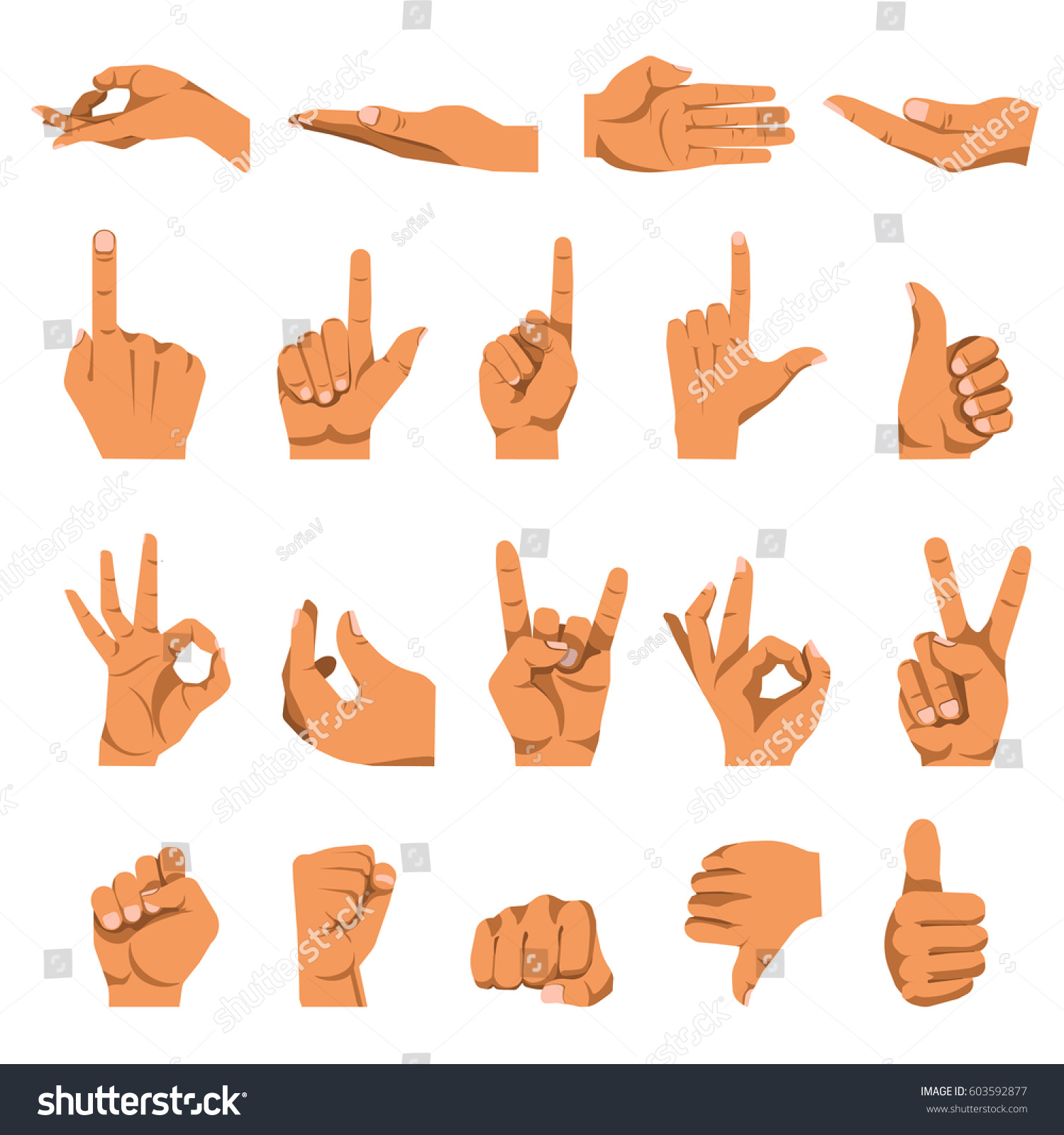 Hand Gestures Finger Different Signs Vector Stock Vector Royalty