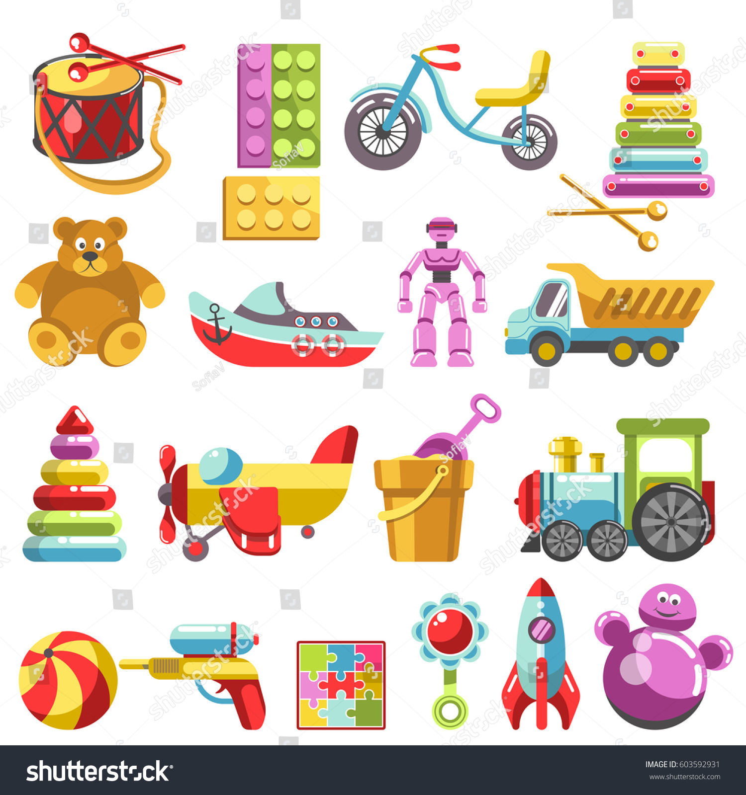 Kid Toys Vector Icons Children Playthings Stock Vector