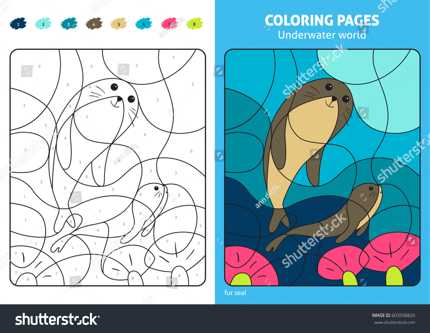 Underwater World Coloring Page Kids Fur Stock Vector (Royalty Free ...