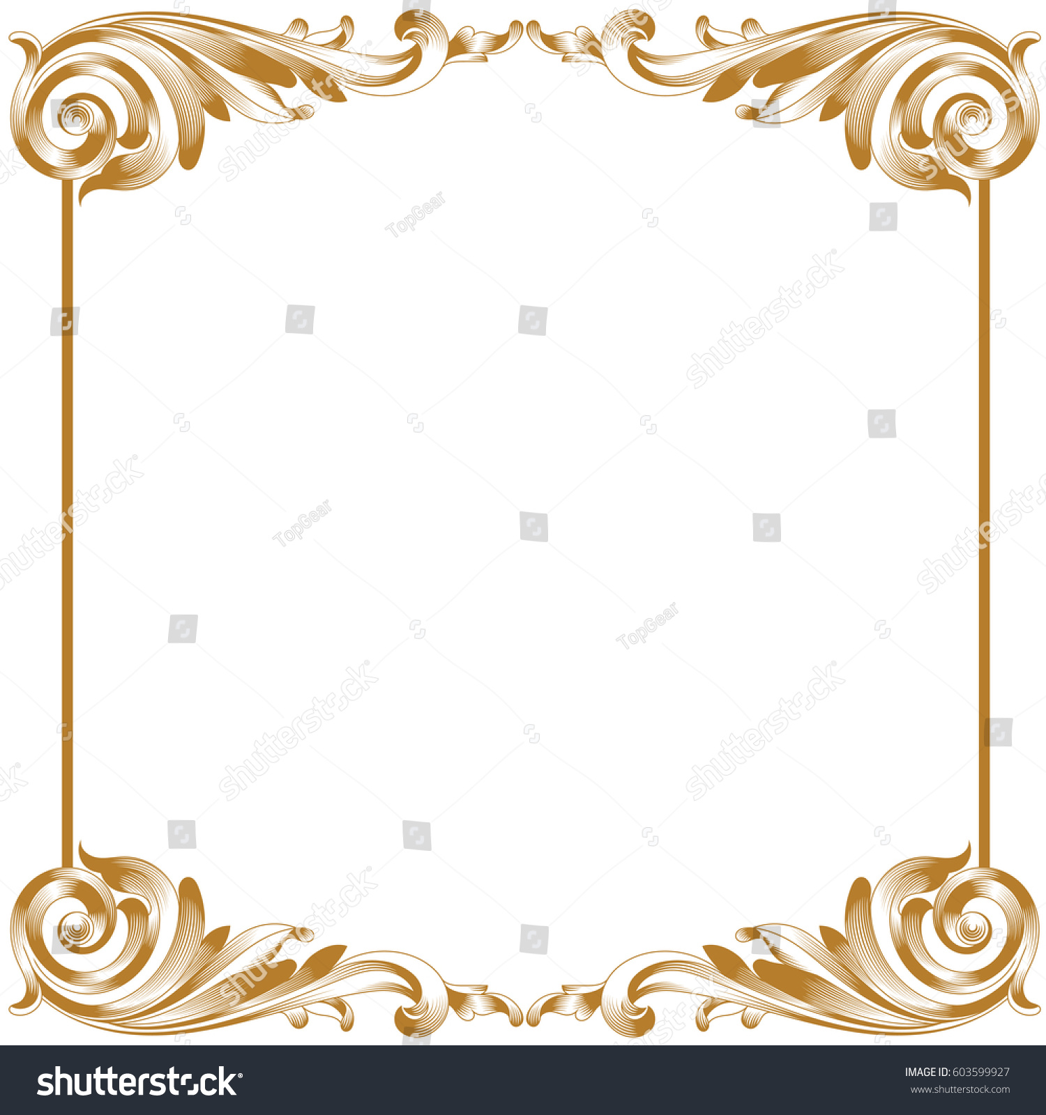 Golden Menu Template With Baroque Style