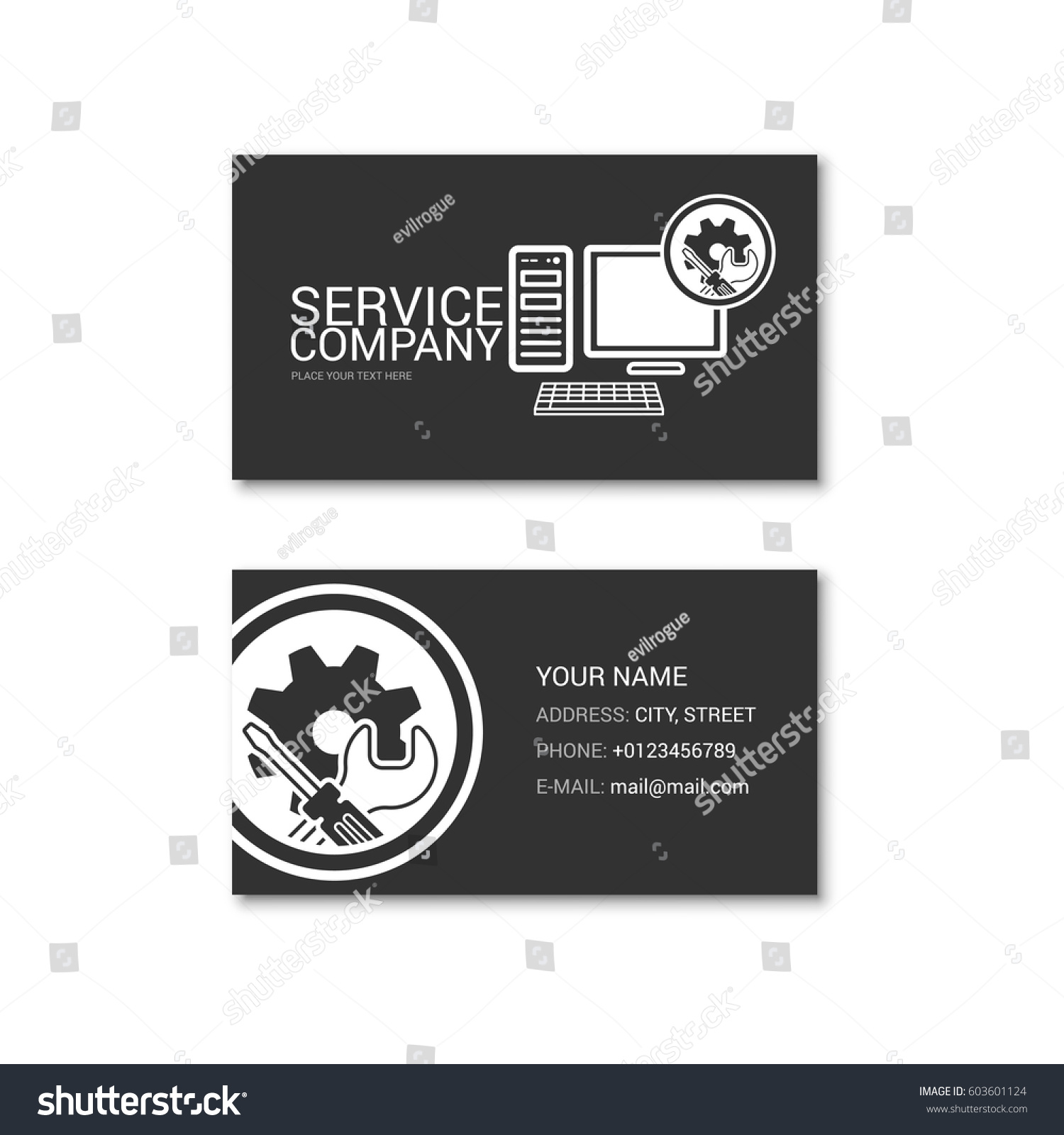 Simple business card computer repair shop stock vector 603601124 simple business card of computer repair shop technical service vector illustration isolated on a magicingreecefo Images