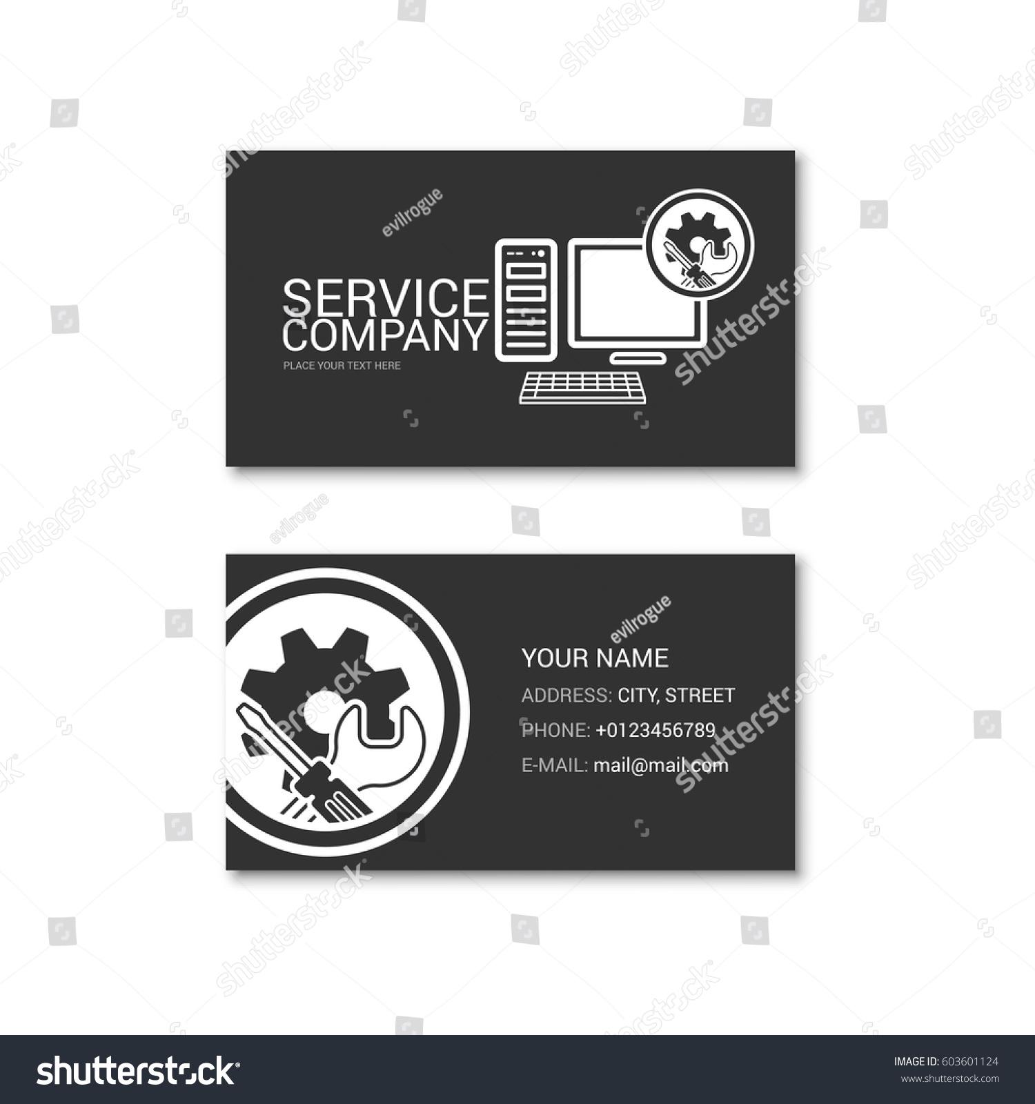 Simple Business Card Computer Repair Shop Stock Vector 603601124 ...