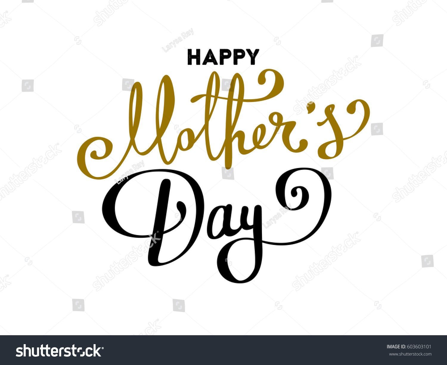 Happy Mothers Day Lettering Handmade Calligraphy Stock