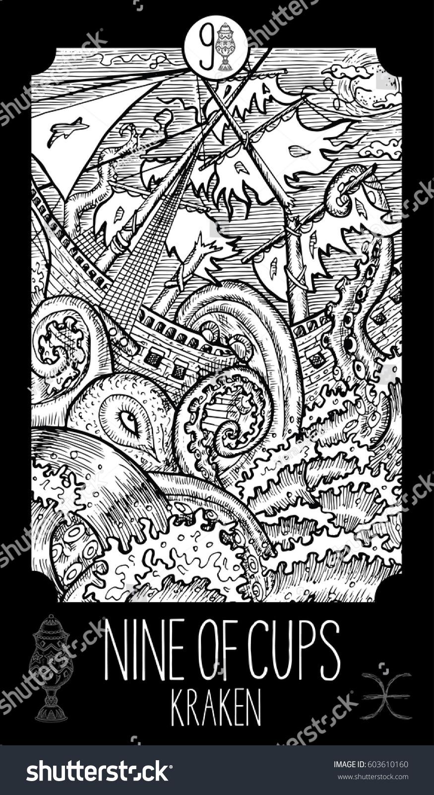 Minor Arcana Tarot Card Fantasy Line Art Illustration